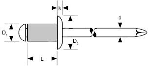 250 Standard Blindnieten 6x30 Alu//Stahl Flachkopf 6,0 x 30